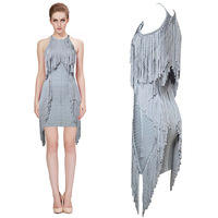 High Quality 100% Ladies Tassel Grey Color HL Bandage Dress Sleeveless Sexy MIni Dress Prom Dress