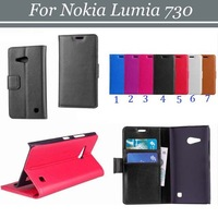 10pcs/lot Free Shipping Magnetic Flip 2 Card Slots Book Style Lichee Leather Case with Stand for Nokia Lumia 730