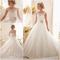 Custom Made Cap Sleeves White Scoop Neckline Romantic Top Lace Ball Gown Wedding Dresses Bridal Gowns Vestido De Noiva