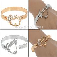 Fashion Korean Style Word Letter Bangle Bracelet For Women Crystal Letter Gold/Silver Plated Metal Bangle Cuff Bracelet Gift