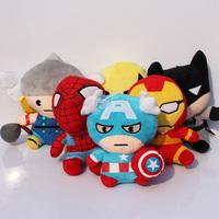 Free shipping 6pcs/lot cute The Avengers Q version plush doll Spiderman Iron man batman captain America Thor wolverine plush toy