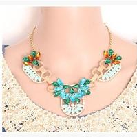 2014 New Super Deals Fashion Vintage Punk Rhinestone Gem Geometry choker statement necklace jewelry for women