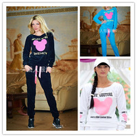 2014 New Women Fashion Cartoon Mouse Printed Sweatshirts Set Cute Girls Hoodies Pullovers Tracksuits Sport Suit