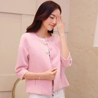 Autumn 2014 women's loose cloak pearl buckle top plus size white design short outerwear female