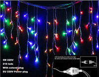 16ft 5M 216 LED icicle curtain Light Droop 0.8m string lights Snowing Christmas Garden lamps for Xmas Wedding Party Decor 220V