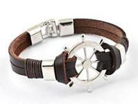 Do Promotion Wholesale Punk Style Rudder Leather Bracelet For Men High Quality  Low Price Genuine Leather Bracelet