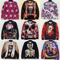 2015 Skull Series printed unisex hoodies and sweatshirts women sweaters mens pullovers streetwear personalized novelty clothing