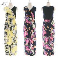 2014 New Fashion Women Sexy Chiffon Dresses Tank Print Floral V-neck Dress Loose Irregular Long Dresses Summer Dress