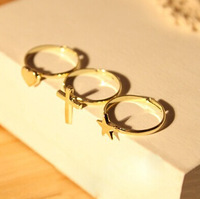 Top quality fashion hot selling 3pcs/set gold cross love five-pointed star adjustable finger rings 200set