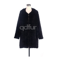 2014 Lady Natural Real Knitted Mink Fur Coat Jacket with Hoodi Winter Women Fur Outerwear Coats Overcoat 5XL 6XL QD30560
