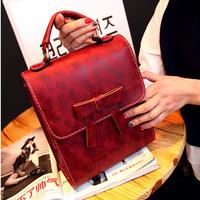 New Hot sale 2014 fashion women bow handbags small flap bag women Korean style messenger bag Pu leather vintage shoulder bags
