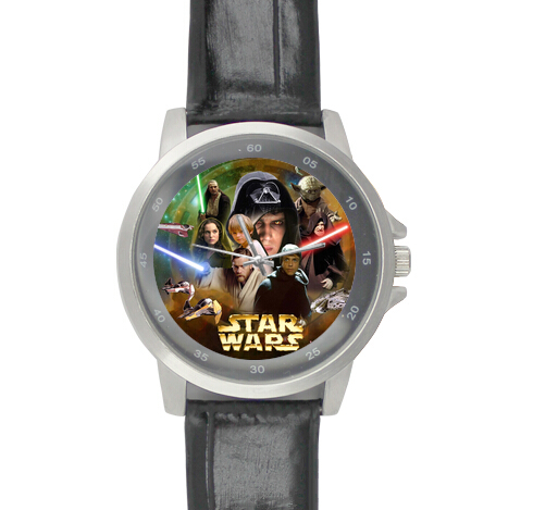 Black Leather Alloy High-grade Watches star war classic tv show Wrist Watch(China (Mainland))