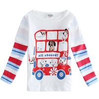 Free Shipping Spring Autumn Boy T shirt Long Sleeve Cartoon T shirt Cream Color Boy's Tees Children T-shirt 5pcs/lot