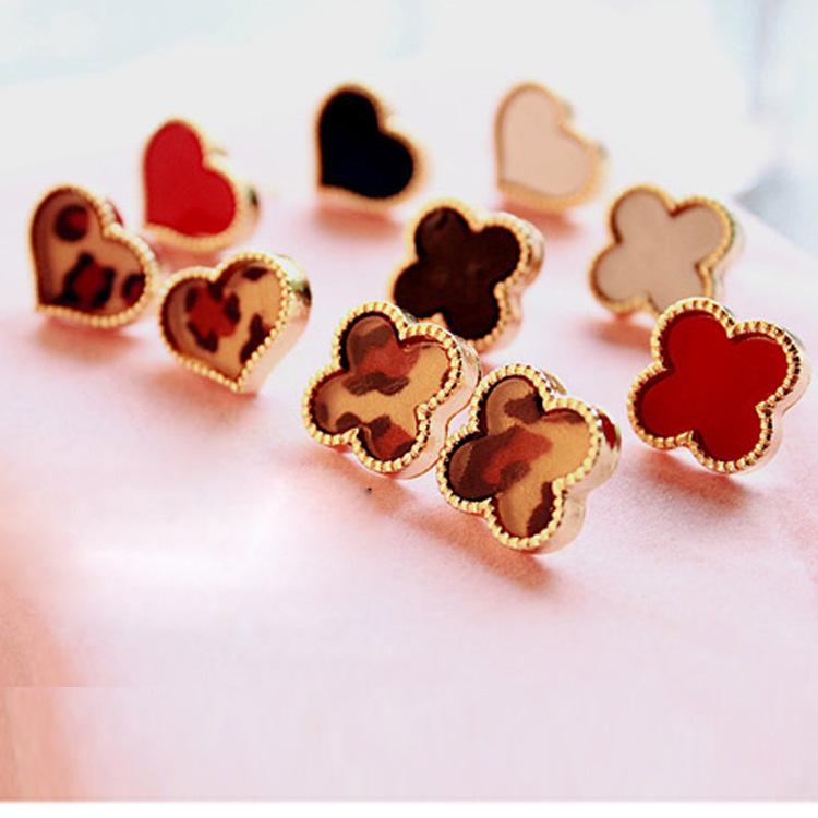 Hot Girls Women Retro Sweet Love Black Red White Leopard Heart Clover Earrings Studs Free Shipping(China (Mainland))