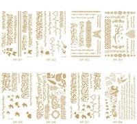 Hot Tattoo Shiny Golden Arabic Script Tattoo Sticker Tattoo