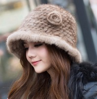 2014 new fashion lady winter cap 100%  natural genuine mink fur women hats sweet Fedora   free shipping