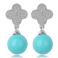 sweet clover pearl drop earrings for women pearl drop earrings pearl earrings stud gift for wife fashion statement jewelry 546