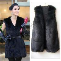 Fashion Winter Women Faux Fake Fur Vest Waistcoat Raccoon Sleeveless Coat Lady Waistcoat Warm Jacket Outwear BYF451