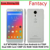 "Original Ecoo Shining E02 pro Smart phone MTK6592 Octa Core Android 5.5""  IPS 720P Dual SIM Card 13MP 2G RAM 16GB ROM OTG FM"