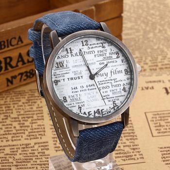Самая низкая цена стильный мужской кварцевые часы мужчин спортивные часы джинсовой ткани женщин платье часы газета дизайн наручные часы часов
