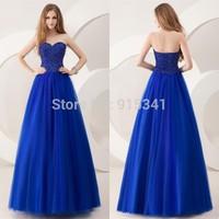 Fancy A Line Sweetheart Crystals Corset Royal Blue Satin Tulle Long Prom Dress 2014 Vestido De Fiesta