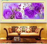 "Wall Home Decoration Cross StitchPrecision  Printing""Purple Rose "" Cross-Stitch Kit , DIY Cross Stitch Sets,"