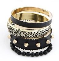 Fashion Punk Rivet Bangle Gold Plated Vintage Bracelets For Women Bead Multi Layer Leather Bracelets Female A05021