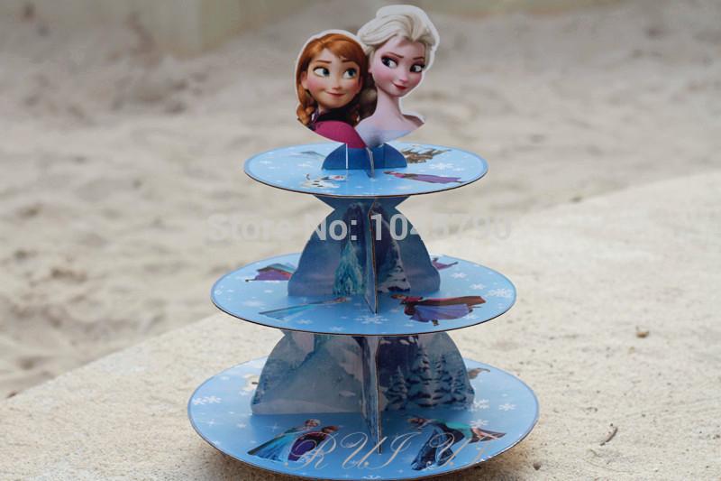 Free Shipping 1 X New Arrival Cartoon Beku Film Elsa Anna Anak Birthday Party Cardboard Cupcake Stand Hold 24 Cupcakes(China (Mainland))