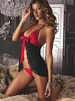 New trendy Mini Dress fantasia Lingerie Babydoll Dress + G-string Black & Red Nightwear Sleepwear