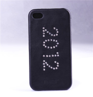 Free Shipping High Quality Classic 2012 PU Leather& Diamond Hard Case For iPhone 4/4S Black Back Cover For iPhone 4/4s