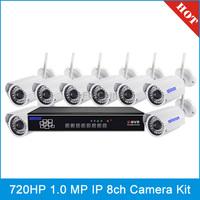 szsinocam SN-NVK-7308A 8 Chanel HD 720P P2P 1.0 Mega Pixel Wireless Cloud IP Camera NVR Kit, IR Distance: 20~25m