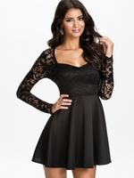 Black Lace Bodice Skater Dress Fast Delivery Vestido De Renda Festa Evening Sexy Long Sleeve Winter Dresses