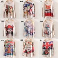 [AMY] Free shipping 2014 new Autumn Winter Fashion Women Batwing 3D Sleeve Sweater Loose Jumper Pullover KnitwearTops 19model
