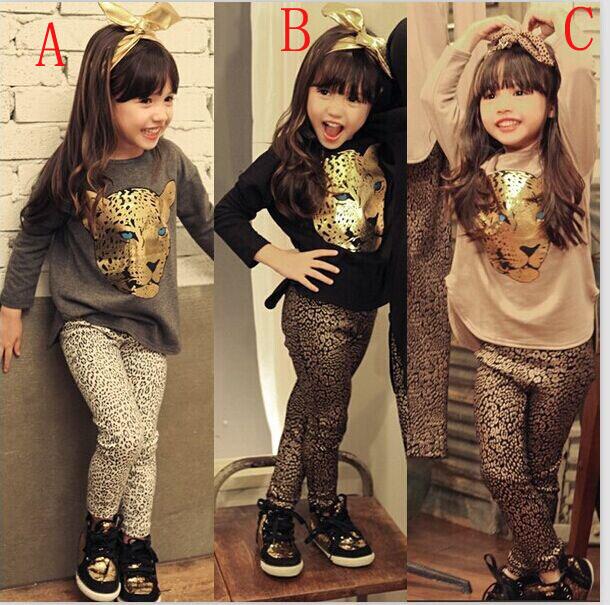 fashion hot-selling female child autumn spring child set baby girl`s Leopard head long-sleeved tshirt + Leopard Print leggings(China (Mainland))