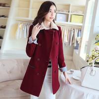 2014 autumn and winter outerwear women's double breasted fur collar wool coat woolen outerwear female medium-long