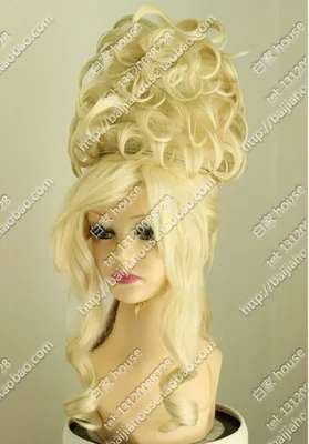 Queen Updo Blonde Color Curly Wave Synthetic Lace Front Cosplay Wig ...