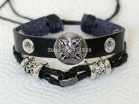 474 Men's black leather bracelet Shield bracelet Cross bracelet Charm bracelet Leather jewelry For men and boys