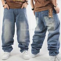 Hip-Hop Denim Jean Men Plus Size Loose Wash Baggy Design Solid Blue Embroidery Letter HipHop Hip Hop Rap Fashion PantsTrousers