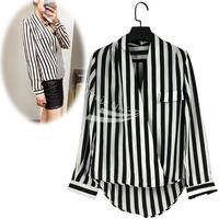 New Fashion Women's V-Neck Black White Stripe Blouse Chiffon Shirt Tops