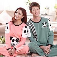 Factory wholesale couple cotton cartoon panda pajama sets lovers long sleeve top and pants tracksuits winter sleepwear