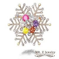 Christmas Gifts Fashion Cheap Rhinestone Snowflake Brooch 5pcs/lot Free Shipping