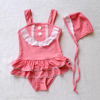 Hotsales! Korean style lacing swimwear+swimming cap set for baby girls bathing suits one-piece swim suit swimsuit free shipping