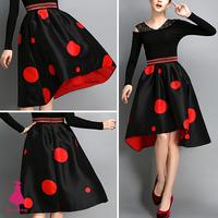Retro Hepburn Contrast Color Polka Dot Back Asymmetric High Waist TuTu Midi Hi-Lo Pleated Swing Black Skirt New Arrivals 2014