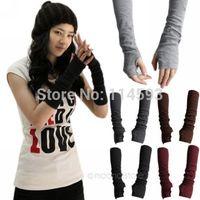 Womens Knitted Wrist Arm Long Fingerless Mitten Winter Gloves Warm