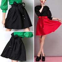 Retro Hepburn Big Bow High Waist TuTu Midi Pleated A-line Skater Midi Black & Red Skirt Ball Gown 2014 New Arrivals