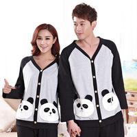 High quality pure cotton pyjama sets for women and women cute cartoon panda cardigan sleepwear casual men tracksuit