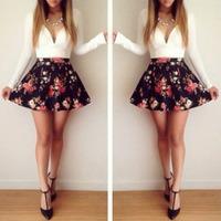 2015 Autumn New Sexy Cute Women Print Floral Deep V-Neck Pinched Waist Nightclub A-Line Mini Dress Vestidos, S, M, L, XL