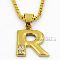 Free Shipping NEW Fashion Jewelry Mens Womens Letter R Shape w CZ 18K Yellow Gold Filled Pendant Necklace P28Y