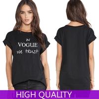 Tshirts Women  2015 New Lady Simple T-Shirt Women Letters Printed Short Sleeve Women T Shirts Women Tops Punk Shirts Plus Size