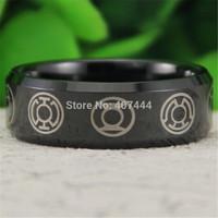 Free Shipping USA UK Canada Russia Brazil Hot Sales 8MM Black Bevel Green Lantern Darkest Night New Men's Tungsten Wedding Ring